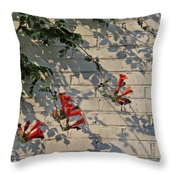 Throw Pillow featuring the photograph Red Summer Trumpets by Deborah Smith