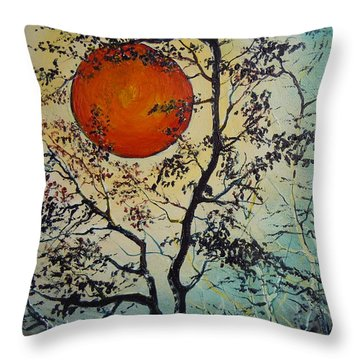 Throw Pillow featuring the painting Red Sun A Red Moon by Dan Whittemore