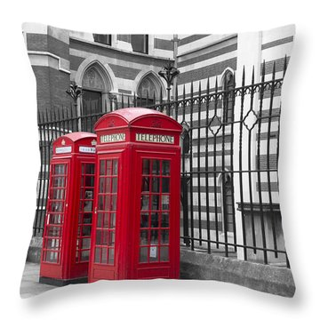 Red Telephone Boxes Throw Pillow