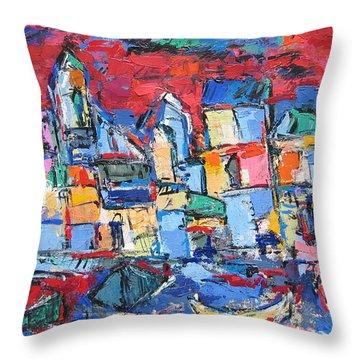 Red Venice Throw Pillow