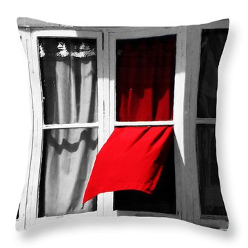 Red Wave Throw Pillow by Ms Judi