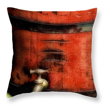 Red Weathered Wooden Bucket Throw Pillow by Paul Ward
