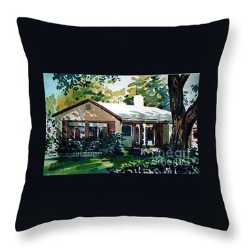 Throw Pillow featuring the painting Redwood City House #1 by Donald Maier