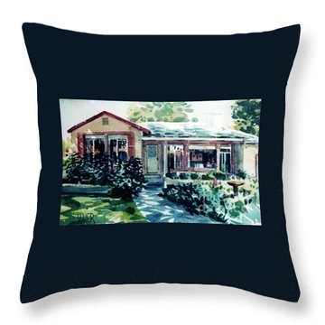 Throw Pillow featuring the painting Redwood City House #2 by Donald Maier