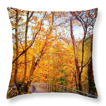 Reed College Canyon Bridge To Campus Throw Pillow by Anna Porter
