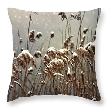 Reed In Snow Throw Pillow by Joana Kruse
