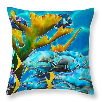 Reef Fish Throw Pillow by Daniel Jean-Baptiste