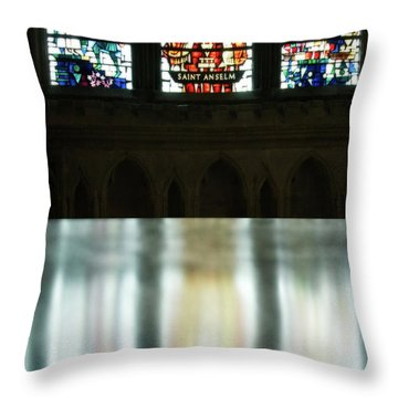 Reflecting On The Beauty Of Canterbury Cathedral Throw Pillow by Lisa Knechtel