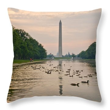 Throw Pillow featuring the photograph Reflecting Pool And Ducks by Jim Moore