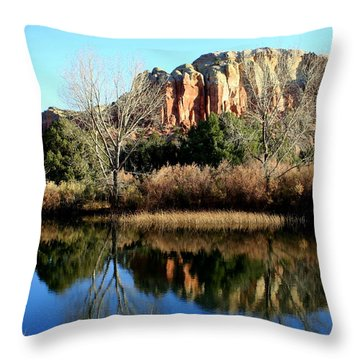 Throw Pillow featuring the photograph Reflection At Ghost Ranch by Laurel Talabere