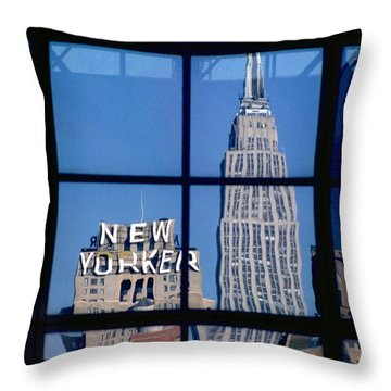 Reflection Empire State Building Throw Pillow by Mark Gilman