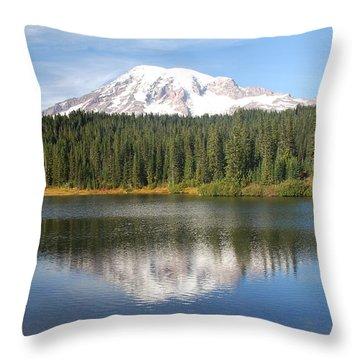 Reflection Lake - Mt. Rainier Throw Pillow