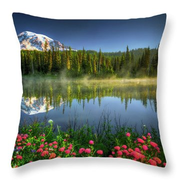 Reflection Lakes Throw Pillow by William Lee