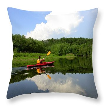 Reflection Of A Kayaker On The Merrimack Throw Pillow