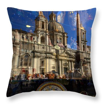 Throw Pillow featuring the photograph Reflection Piazza Navona by Caroline Stella