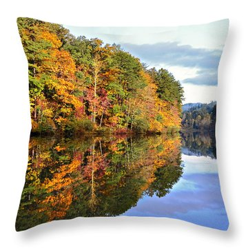 Reflections Of Autumn Throw Pillow by Susan Leggett