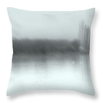 Reflections Through The Fog Throw Pillow by Rod Wiens