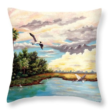 Refreshed By The Rain Throw Pillow by Riley Geddings