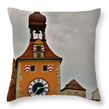 Regensburg Clock Tower Throw Pillow by Kirsten Giving
