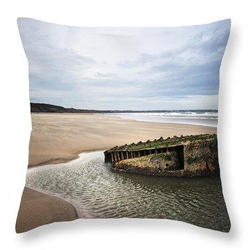 Reighton Sands Shore Throw Pillow by Svetlana Sewell