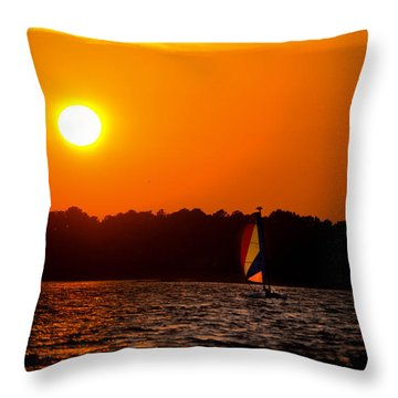 Relaxing Day On Dewey Bay Throw Pillow by Trish Tritz