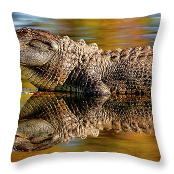 Relection Of An Alligator Throw Pillow