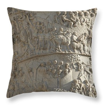 Relief. Detail View Of The Trajan Column. Rome Throw Pillow