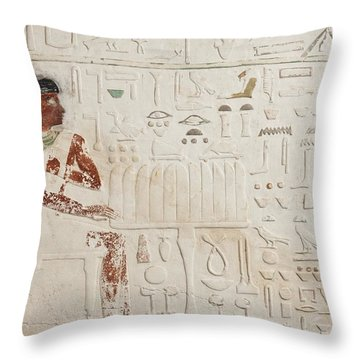Relief Of Ka-aper With Offerings - Old Kingdom Throw Pillow