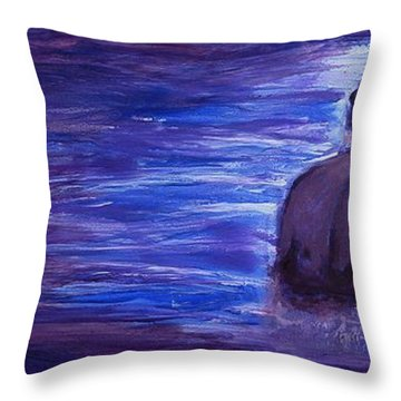 Throw Pillow featuring the painting Religious Nude Male Dipping In Mikveh Baptism In Swirling Water Pool In Purple Blue  by M Zimmerman