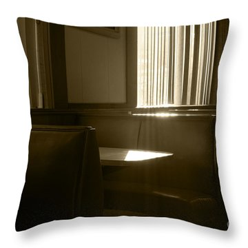 Restaurant Booth With Streaming Sunlight In Sepia Throw Pillow