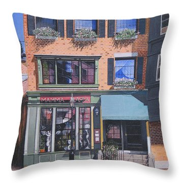 Restaurant Boston North End Throw Pillow by Stuart B Yaeger
