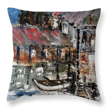 Throw Pillow featuring the painting Resting by Evelina Popilian