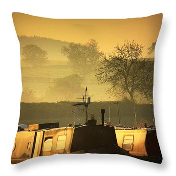 Resting Narrowboats Throw Pillow by Linsey Williams