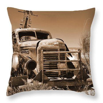 Retired Sepia Throw Pillow by Bob and Nancy Kendrick