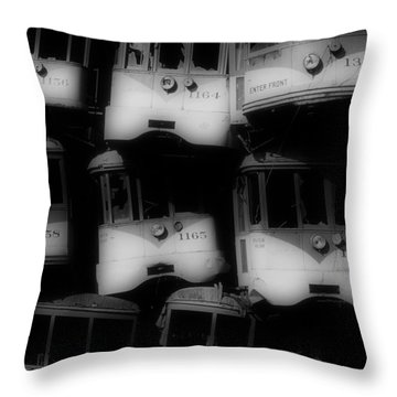 Retired Streetcars Throw Pillow