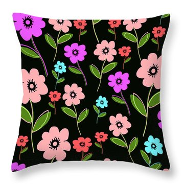 Retro Florals Throw Pillow by Louisa Knight