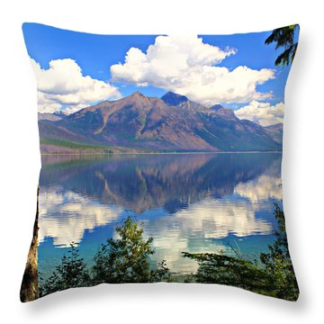 Rflection On Lake Mcdonald Throw Pillow by Marty Koch