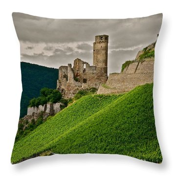 Rhine River Medieval Castle Throw Pillow by Kirsten Giving