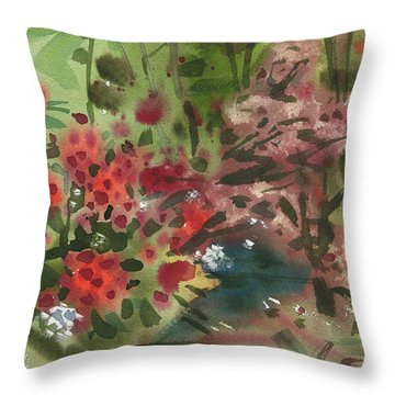 Throw Pillow featuring the painting Rhododendron And Red Maple by Donald Maier
