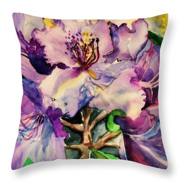 Rhododendron Violet Throw Pillow by Mindy Newman