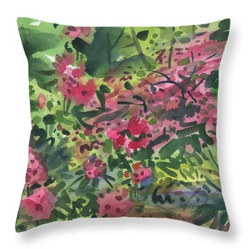 Throw Pillow featuring the painting Rhododendrons And Azaleas by Donald Maier