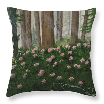 Rhododendrons And Redwoods Throw Pillow