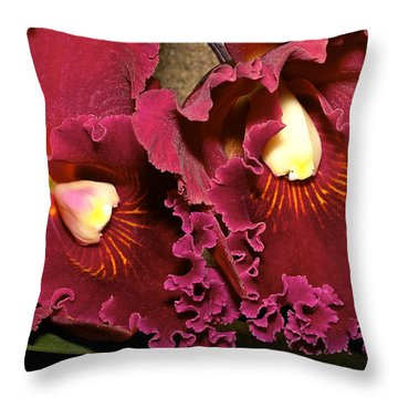 Rich Burgundy Orchids Throw Pillow by Phyllis Denton