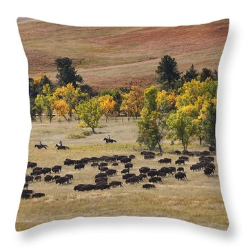 Riders Turning The Herd Throw Pillow