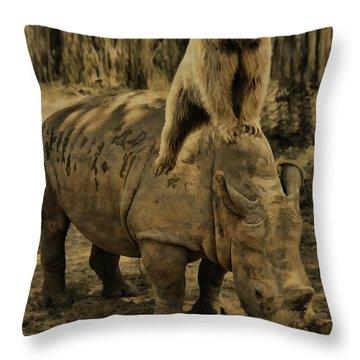 Riding Along- Rhino And Bear Throw Pillow