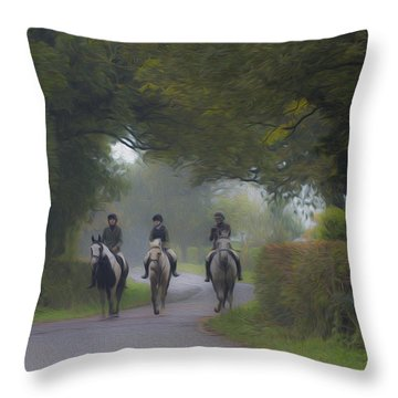 Riding In Tandem Throw Pillow