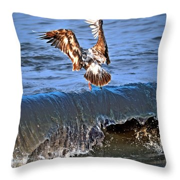 Riding The Wave  Throw Pillow by Debra  Miller