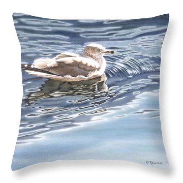 Ringed Bill Gull Throw Pillow by Richard De Wolfe