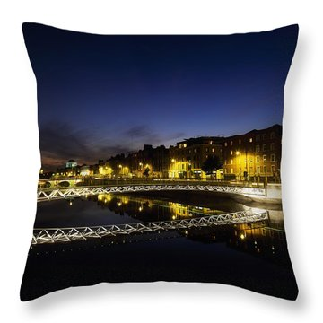 River Liffey, Millenium Footbridge At Throw Pillow by The Irish Image Collection