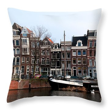 Throw Pillow featuring the digital art River Scenes From Amsterdam by Carol Ailles
